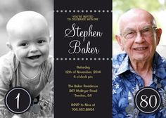 Milestone birthday photo invitations - a great way to see how they've changed over their lifetime.  Change the numbers to whatever years you have photos for...