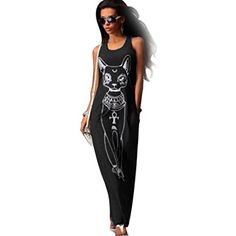 Women Cute Cat Printed Sleeveless Bodycon Boho Long Cocktail Party Beach Dress US 24 Black >>> You can find more details by visiting the image link.