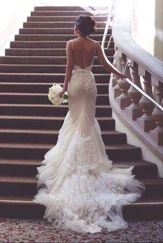 LOVE! #backless wedding dresses #mermaid wedding dresses #lace wedding dresses…