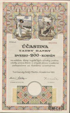 Muzeum cennych papiru  A0436 TATRA BANKA 1920 Money Paper, Stocks And Bonds, Retro Vector, Savings Bank, Banknote, Card Templates, Vector Design, Old Photos, Banks