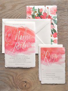 Watercolor invitation suite #invitations #colour