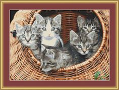 Kittens In A Basket Cross Stitch Pattern by Avalon Cross Stitch on Etsy
