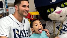 Tampa Bay Rays - 12/11/2014. Rays outfielder Kevin Kiermaier and DJ Kitty visits Tampa General Hospital to deliver gifts to children and help spread some holiday cheer. Go Kevin!