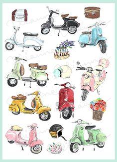 Watercolor Rug, Watercolor Cards, Scooter Images, Vespa Illustration, Kind Reminder, Wall Drawing, Trendy Wallpaper, Flower Basket, Vintage Images
