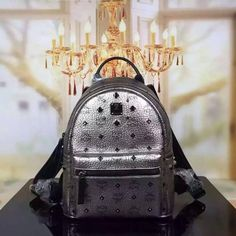 MCM Small Stark Odeon Backpack In Silver