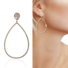 Pear shaped diamond accent drop earrings set in 18K yellow gold. Contact us today 305-379-3800 sales@richardsjewelry.com