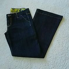 Miss Me Jeans Sz 28 Miss Me Jeans...Size 28x30...super cute flare leg trouser jeans...dark wash color...cute stitching along legs and pockets... worn once...in excellent condition Miss Me Jeans