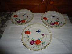 "Vintage Set of 6 Nippon Hand Painted Luncheon/Dessert Plates.  7.50"" Diameter #Nippon"
