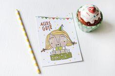 """Postkarte """"Alles Gute"""" de HerrPfeffer por DaWanda.com"""