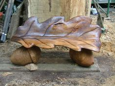 Andrew Frost - Wood Sculptor, Oak Leaf Seat 6' long Beech