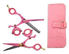 "Thinning Shears Stainless Barber Double Swivel Thumb Pink Set 5.5"" Scissor Salon by Salon Supply Store. $52.95. Japanese Stainless Steel. Professional Grade Salon Shears. Must have for every salon or cuttery. 1 Thinning shear 1 Straight shear. Cut hair with precision and ease. This professional and unique shear set is amazing for hair cutting. Its japanese stainless steel construction offers durability and continuing sharpness. The Double swivel finger holes are ma..."