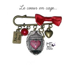 "Broche en laiton 5cm avec noeud ""Le coeur en cage"" : Broche par mt-bijoux-creation"