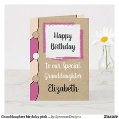 Granddaughter birthday pink white rustic card Personalize this Happy Birthday Card for a special Granddaughter Designed in pink, white and black. Add a name and your message. Happy Birthday With Love *Kraft graphic rustic effect background. *Real Kraft card is not used #ad Happy Birthday Love, Happy Birthday Cards, Birthday Greeting Cards, Custom Greeting Cards, Birthday Greetings, Zazzle Invitations, Photo Cards, Thoughtful Gifts, Blue And White