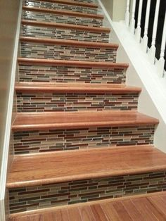 Tile on stair risers. | DIY Wisdom - Different tile but this is the general idea