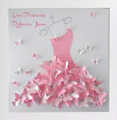 Personalised Cinderella dress 3d picture in box frame,girl's room,bedroom,butterfly picture,pink,daughter,niece,Christening,birth,baby by Flutterframes on Etsy