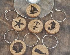 Cork Nautical Wine Glass Charms – Set of 6 - Looking for a fun way to tell your wine glasses apart? Then check out this set of wine glass charms - Wine Craft, Wine Cork Crafts, Wine Bottle Crafts, Wooden Crafts, Recycled Crafts, Wine Bottles, Clay Crafts, Diy Cork, Wine Cork Art