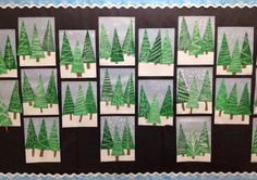 My Grade One class made these patterned evergreen trees today. I am loving how they look clustered together on my bulletin board. This was actually a 2 day project. We spent the first session mi Kindergarten Art Projects, Classroom Art Projects, Art Classroom, Grade 1 Art, First Grade Art, Crismas Tree, January Art, December, K Crafts