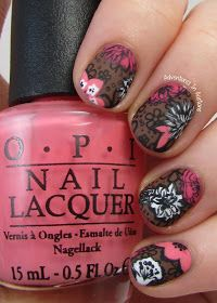 Adventures In Acetone: The Digit-al Dozen DOES Patterns On Patterns, Day 2: Vera Bradley Mocha Rouge Nail Art! Floral stamping nail art with matte topcoat