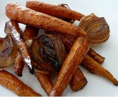 Roasted Carrots and Onion with Honey Balsamic Dressing