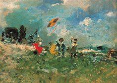 Ignacio Pinazo Camarlench - The Kite Claude Monet, Visual Texture, Spanish Artists, Post Impressionism, Figure Painting, Painting Art, Art Reproductions, Kite, Art World