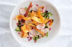 Avocado with Radish, Carrot, and Pickled Onion