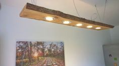 LED-Decken-Holz-Lampe-Rustikal-120cm-5x-7W-Massivholz-NEU-Laerche-Shabby-chic