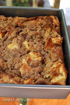 Cinnamon Streusel Baked French Toast.. This was so amazing. I made it for brunch this weekend and everyone asked for the recipe. It came out soft and chewy on the inside with a delicious cinnamon sugar crust on the outside. The house smelled so good when it was cooking. It was great to prepare it the night before and just pop it in the oven the next day.