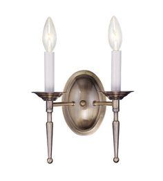 Livex Lighting Williamsburg 2 Light Wall Sconce in Antique Brass 5122-01 #lightingnewyork #lny #lighting