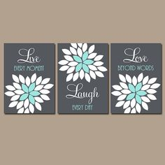 Live Laugh Love Wall Art Teal Yellow Artwork Girl By TRMdesign