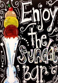 Enjoy the sundae bar! #icecreamparty #sundaebar #chalkboard #diditmyself #dims