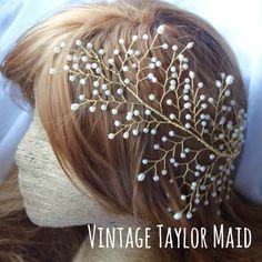 Vid de oro anillo medio pelo tocado novia por VintageTaylorMaid