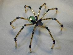 Large Beaded Mardi Gras Colors Spider