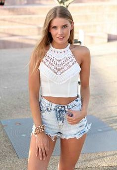 WhiteHigh-Neck Lace Crochet Adore You Top