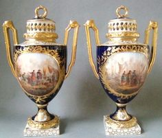 Striking Antique Hand Painted  Pair German Porcelain Urns 1890