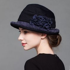 Elegance flower bowler wool hat for women warm winter hats c8a1c8a47da