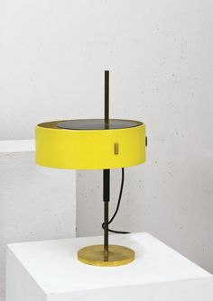 Anonymous; Enameled Metal and Brass Table Lamp, 1950s.