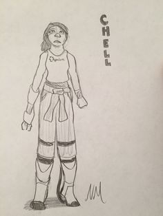 Chell sketch (from Portal 2). (I know the outfit probably isn't correct but I didn't feel like looking it up again so I just drew what I remembered). Credits to Valve and Portal 2 (I guess? Idk.)
