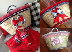 capazos decorados y alpargatas Handmade Handbags, Handmade Bags, Diy Sac, Mode Simple, Bow Bag, Flower Bag, Straw Handbags, Womens Purses, Bag Making