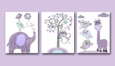 "Giraffe Elephant Baby Boy Nursery art print Children Wall Art Baby Room Decor set of 3 8"" x 10"" tree owls giraffe elephant gray purple on Etsy, $47.46 AUD"