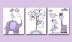 Giraffe Elephant Baby Girl Nursery art print by artbynataera
