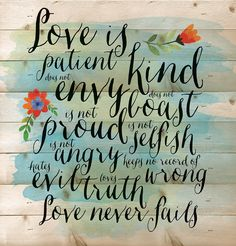 Amazon.com - Love is Patient Love is Kind Love Never Fails 12 x 12 inch Wood Board Plank Wall Sign Plaque -