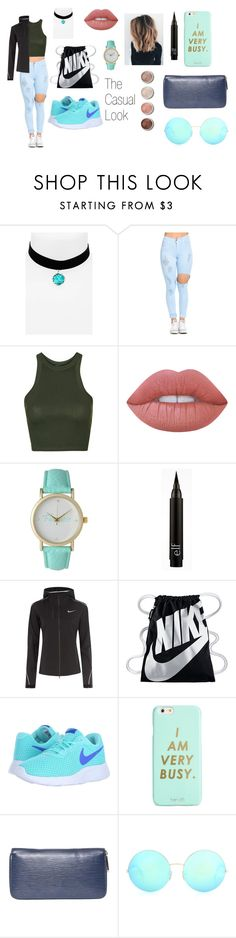 """""""The Casual Look"""" by christinajay ❤ liked on Polyvore featuring Topshop, Lime Crime, Olivia Pratt, Terre Mère, NIKE, ban.do, Louis Vuitton and Victoria Beckham"""