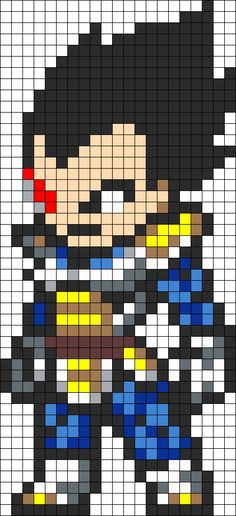 Vegeta perler bead pattern - cross stitch...maybe paper pixel collage?