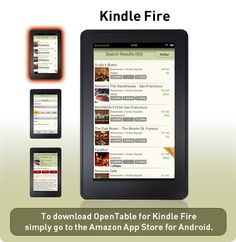Open Table Kindle Fire App introduced March 2012