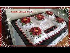 Capa de Fogão Cook top 5 Bocas Parte 1 - YouTube Mochila Crochet, Crochet Backpack, Baby Boy Scrapbook, Diy And Crafts, Crochet Hats, Lily, Blanket, Pasta, Youtube
