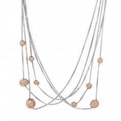 Rose gold crystal ball multi row necklace