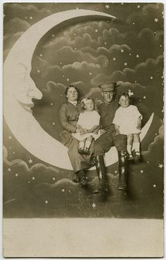 rinted on the back: Taken by Whitney Bros. Electric Post Card Studio. Luna Park, St. Kilda, Melbourne, Australia.  Written in ink on the back: G.R. Will & family.  This is a fairly rare Australian paper moon postcard featuring a WWI soldier.
