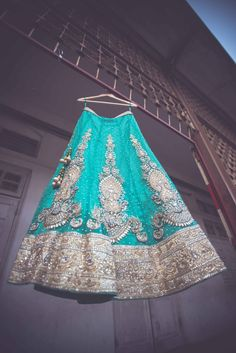 Beautiful sky blue lehnga. Bridal wear