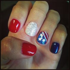 Patriotic American flag Fourth of July nails