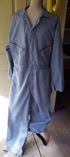 d13f6807ff89 Dickies VTG Men s Coveralls Jumpsuit One Pc~Sz 44 Tall~Medium Gray  Work~Mechanic